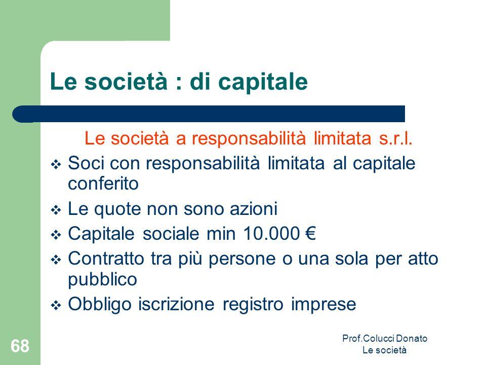 Le società a responsabilità limitata s.r.l. Soci con responsabilità limitata al capitale conferito Le quote non sono azioni Capitale sociale min 10.00