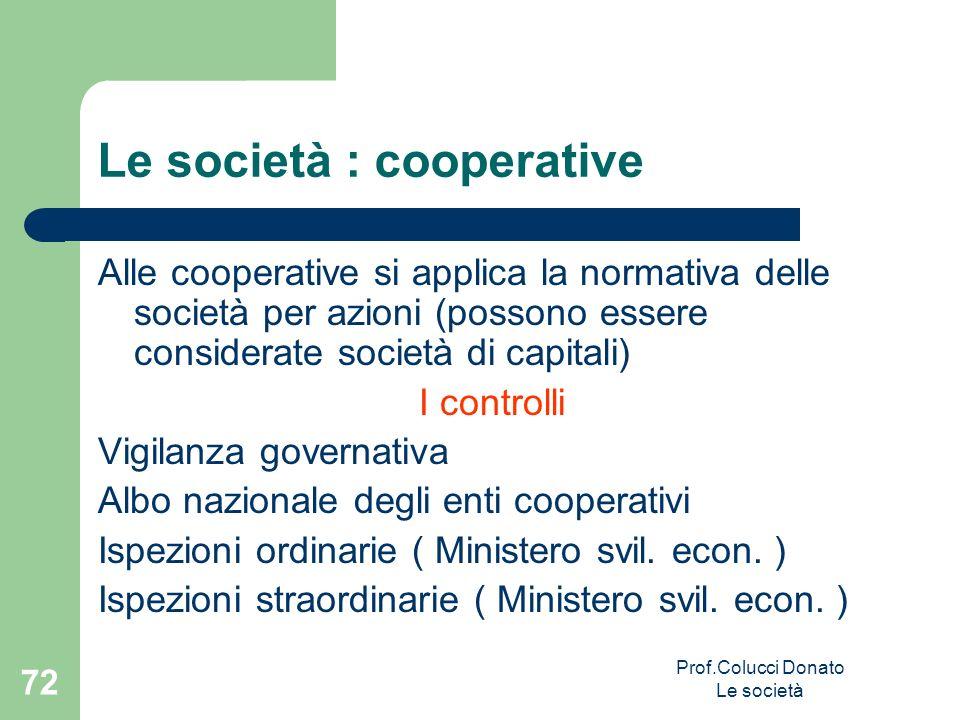 Alle cooperative si applica la normativa delle società per azioni (possono essere considerate società di capitali) I controlli Vigilanza governativa A