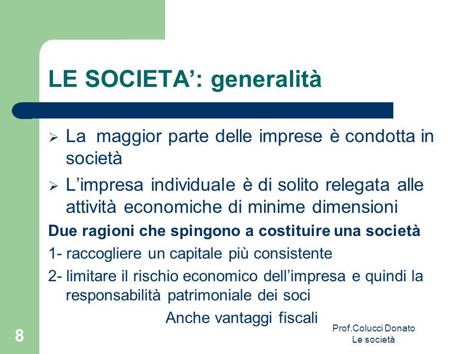 LE SOCIETA: generalità La maggior parte delle imprese è condotta in società Limpresa individuale è di solito relegata alle attività economiche di mini