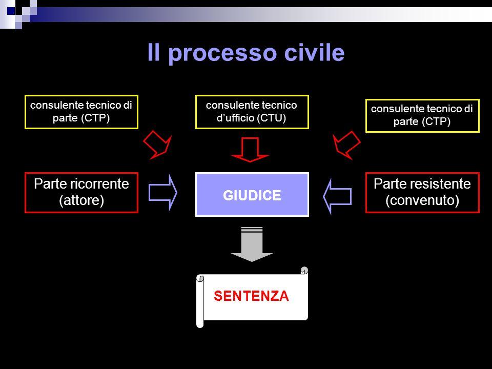 Il processo civile Parte ricorrente (attore) GIUDICE consulente tecnico di parte (CTP) Parte resistente (convenuto) consulente tecnico dufficio (CTU) consulente tecnico di parte (CTP) SENTENZA