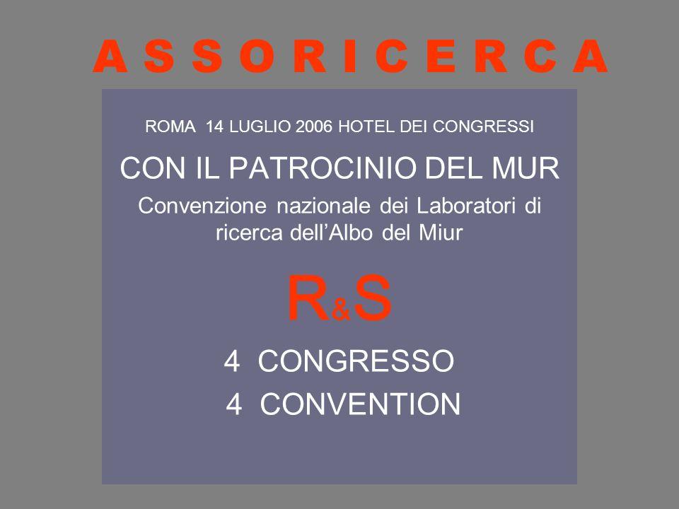 A S S O R I C E R C A ROMA 14 LUGLIO 2006 HOTEL DEI CONGRESSI CON IL PATROCINIO DEL MUR Convenzione nazionale dei Laboratori di ricerca dellAlbo del M