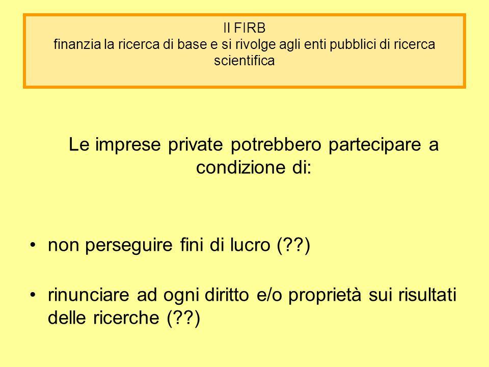 Il FIRB finanzia la ricerca di base e si rivolge agli enti pubblici di ricerca scientifica Le imprese private potrebbero partecipare a condizione di: