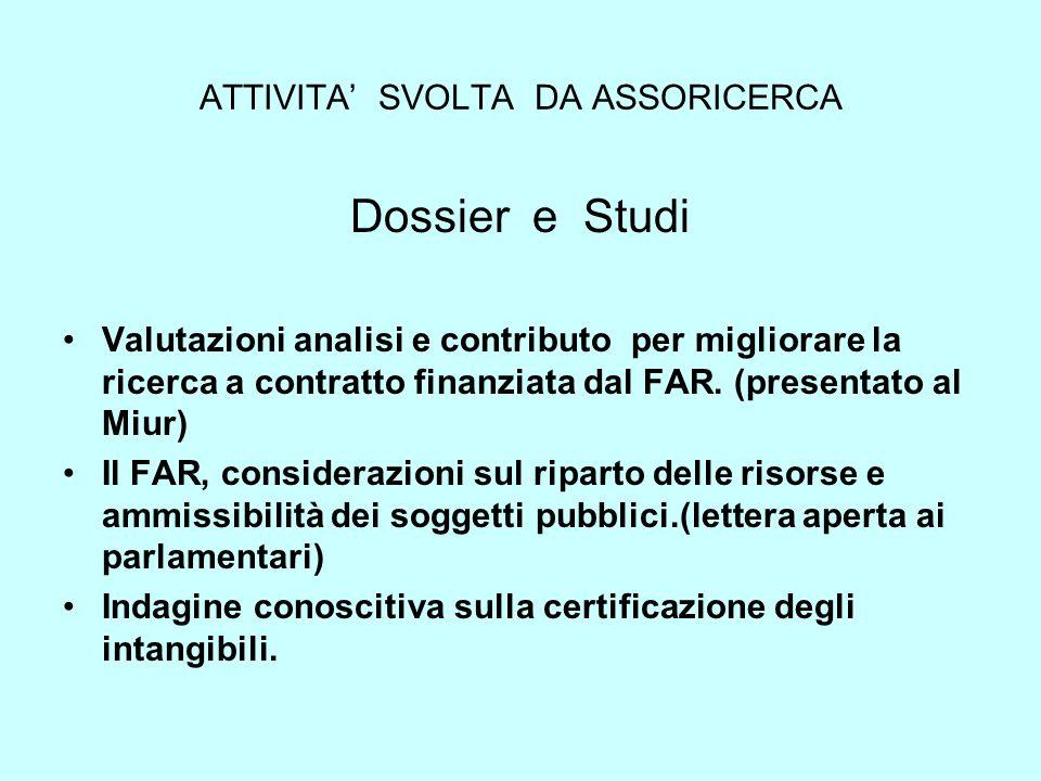 ATTIVITA SVOLTA DA ASSORICERCA Dossier e Studi Valutazioni analisi e contributo per migliorare la ricerca a contratto finanziata dal FAR. (presentato