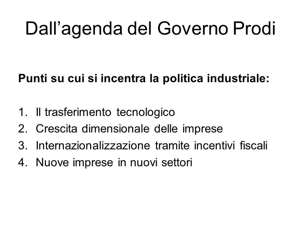 Dallagenda del Governo Prodi Punti su cui si incentra la politica industriale: 1.Il trasferimento tecnologico 2.Crescita dimensionale delle imprese 3.