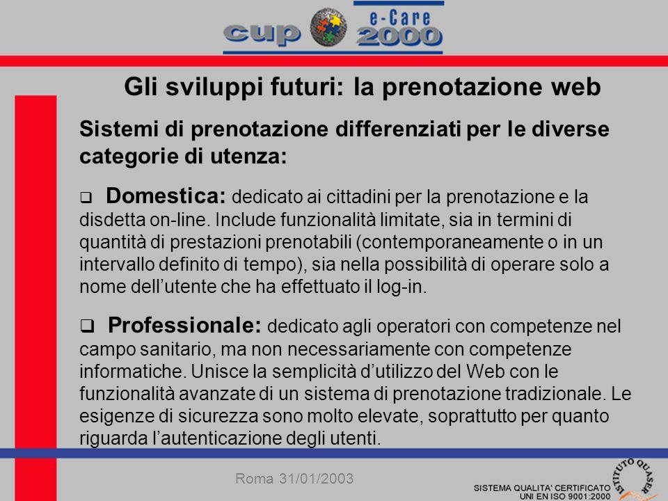 Gli sviluppi futuri: la prenotazione web Sistemi di prenotazione differenziati per le diverse categorie di utenza: Domestica: dedicato ai cittadini per la prenotazione e la disdetta on-line.