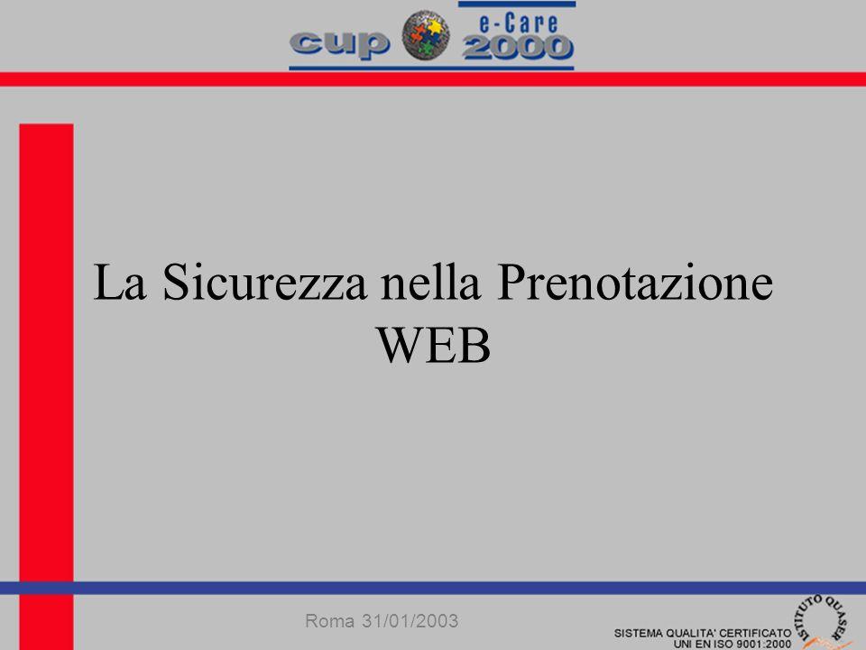 La Sicurezza nella Prenotazione WEB Roma 31/01/2003