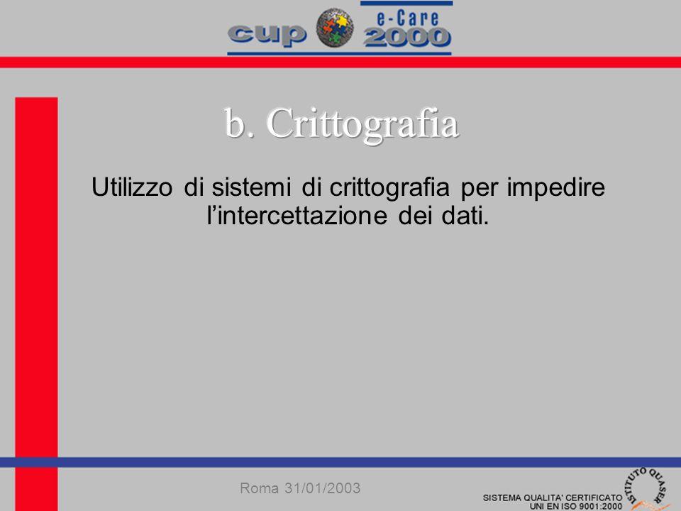 Utilizzo di sistemi di crittografia per impedire lintercettazione dei dati. Roma 31/01/2003