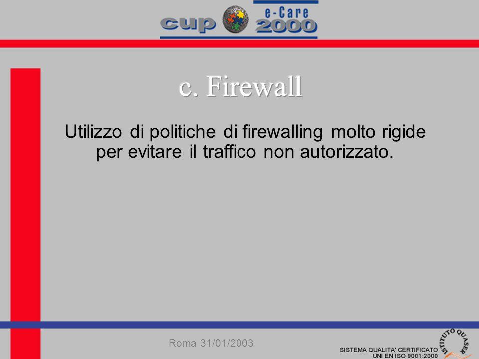 Utilizzo di politiche di firewalling molto rigide per evitare il traffico non autorizzato.