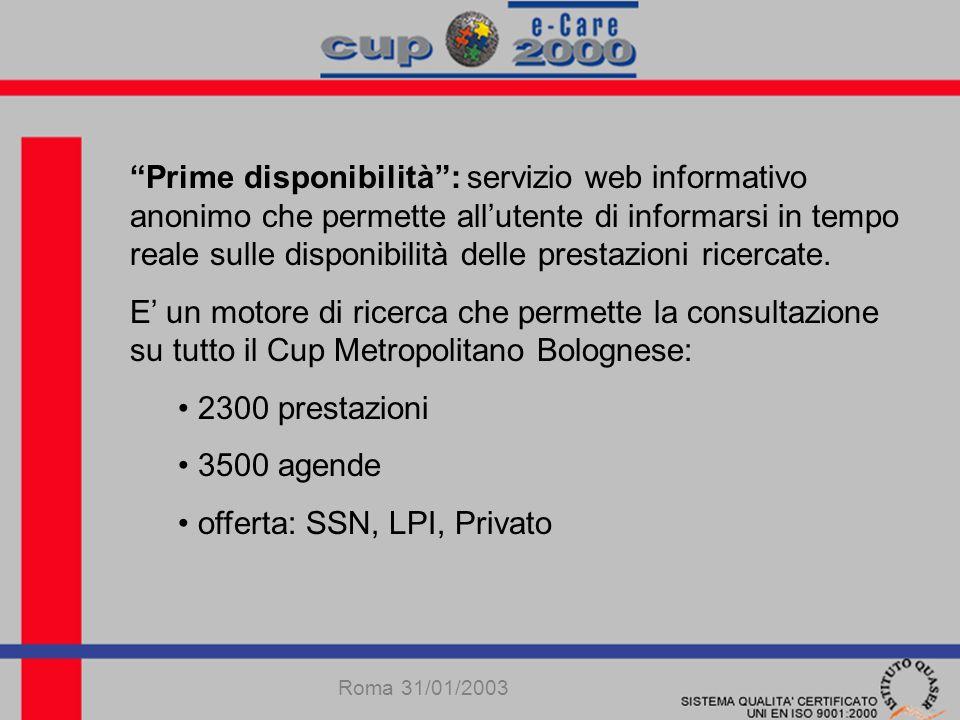 Prime disponibilità: servizio web informativo anonimo che permette allutente di informarsi in tempo reale sulle disponibilità delle prestazioni ricercate.