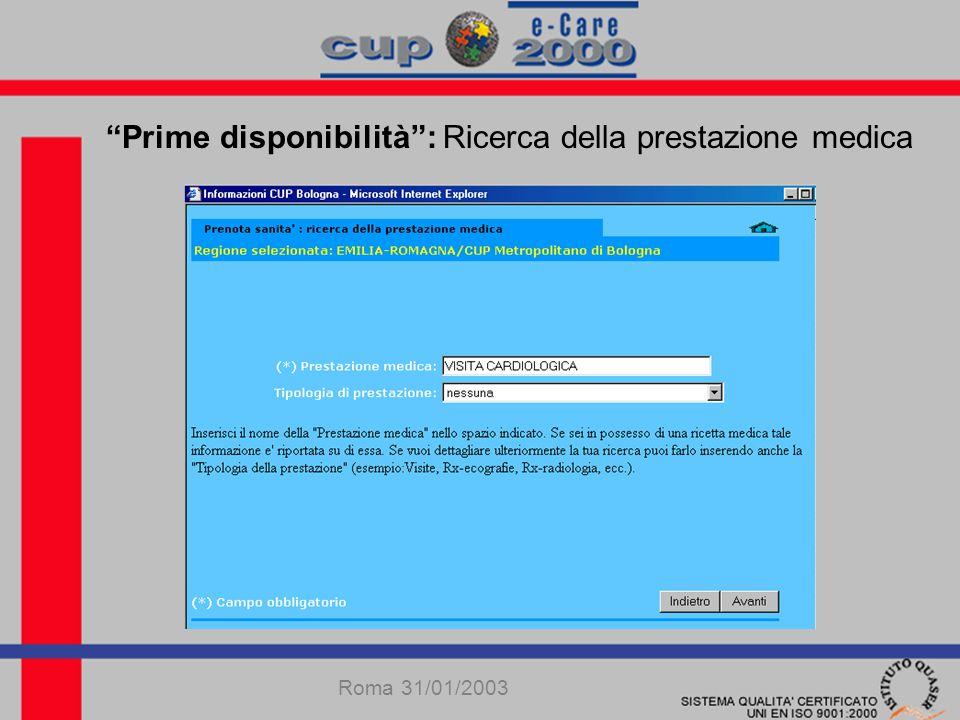 Prime disponibilità: Ricerca della prestazione medica Roma 31/01/2003