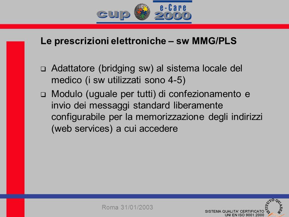 Roma 31/01/2003 Adattatore (bridging sw) al sistema locale del medico (i sw utilizzati sono 4-5) Modulo (uguale per tutti) di confezionamento e invio dei messaggi standard liberamente configurabile per la memorizzazione degli indirizzi (web services) a cui accedere Le prescrizioni elettroniche – sw MMG/PLS