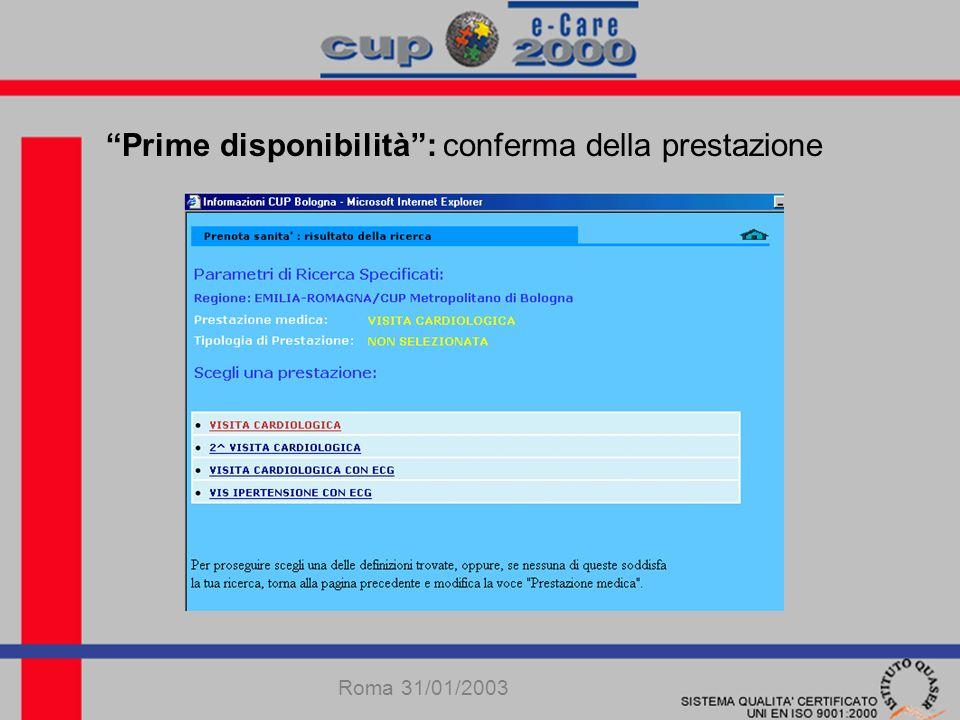 Prime disponibilità: conferma della prestazione Roma 31/01/2003