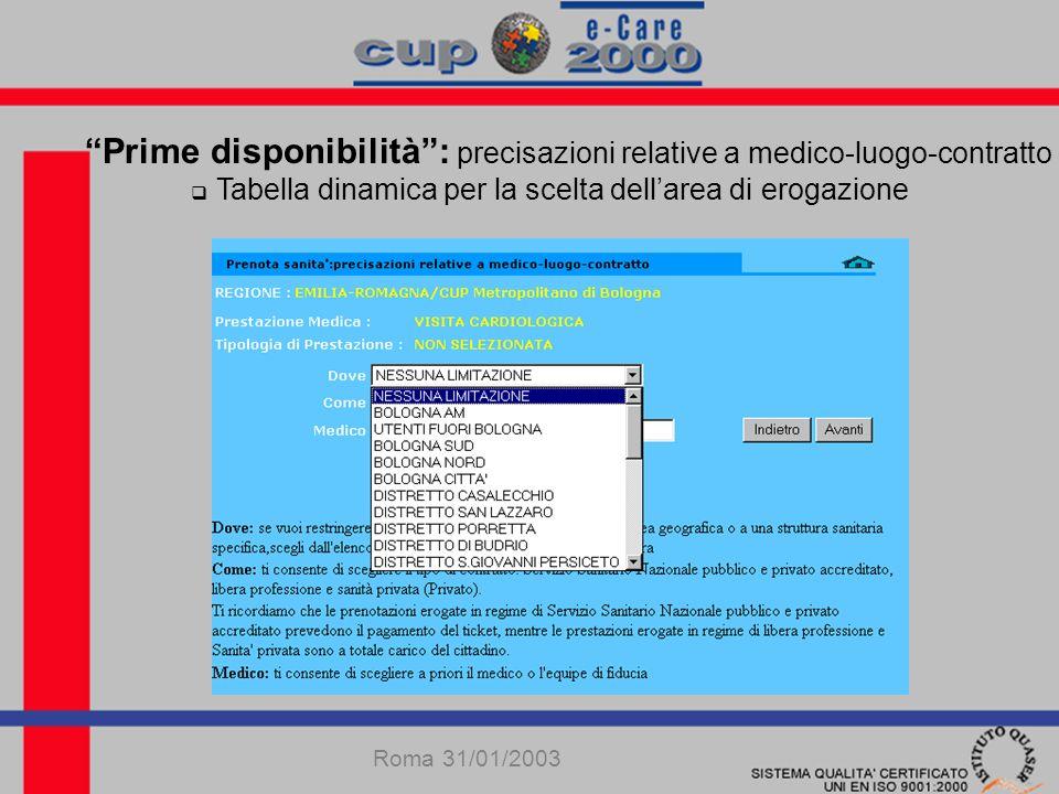 Prime disponibilità: precisazioni relative a medico-luogo-contratto tabella dinamica per le modalità di erogazione Roma 31/01/2003