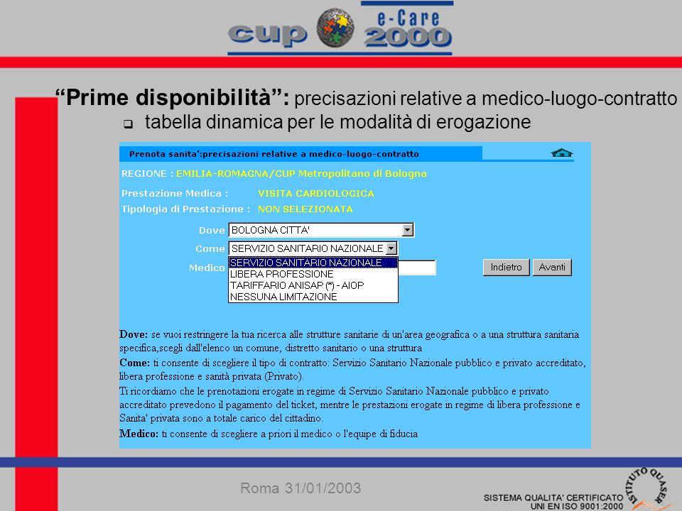 Prenotazione web domestica: elenco orari disponibili selezione orario Roma 31/01/2003