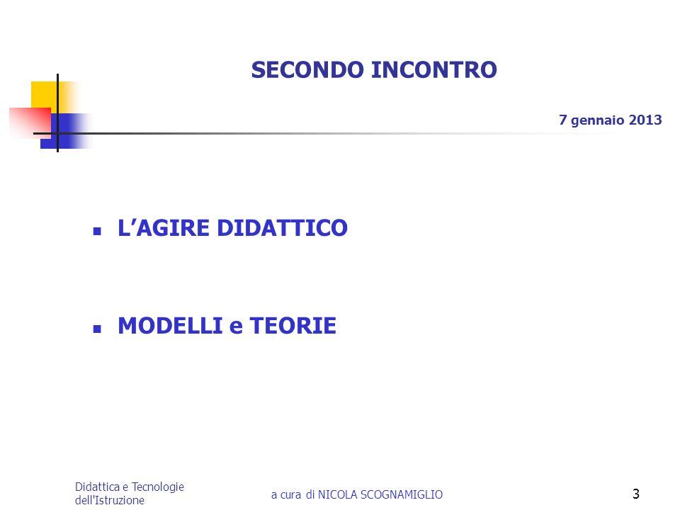 Didattica e Tecnologie dell'Istruzione a cura di NICOLA SCOGNAMIGLIO 3 SECONDO INCONTRO LAGIRE DIDATTICO MODELLI e TEORIE 7 gennaio 2013