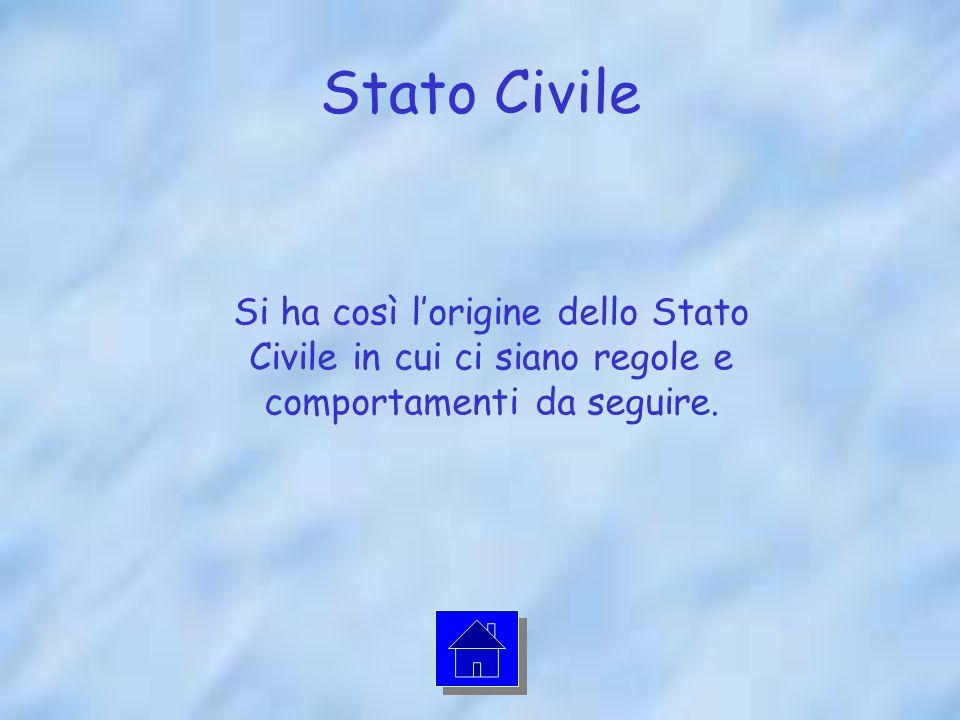 Stato Civile Si ha così lorigine dello Stato Civile in cui ci siano regole e comportamenti da seguire.