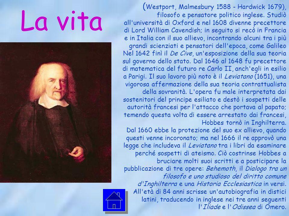 La vita ( Westport, Malmesbury 1588 - Hardwick 1679), filosofo e pensatore politico inglese.