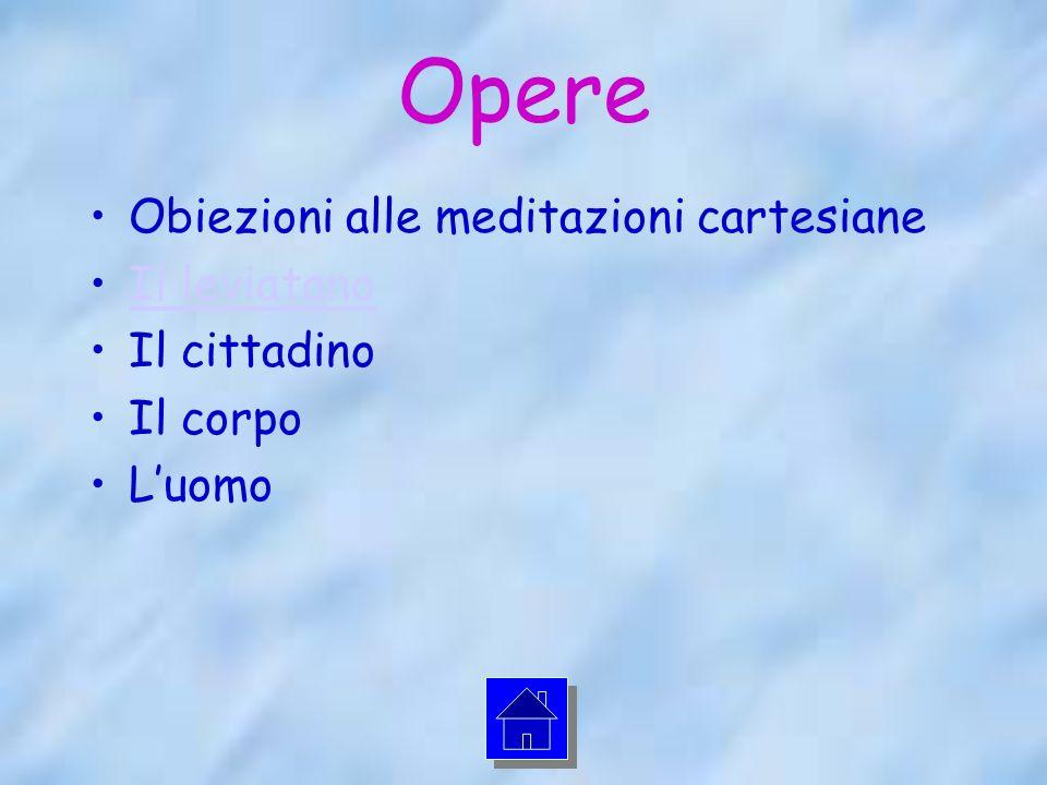 Opere Obiezioni alle meditazioni cartesiane Il leviatano Il cittadino Il corpo Luomo