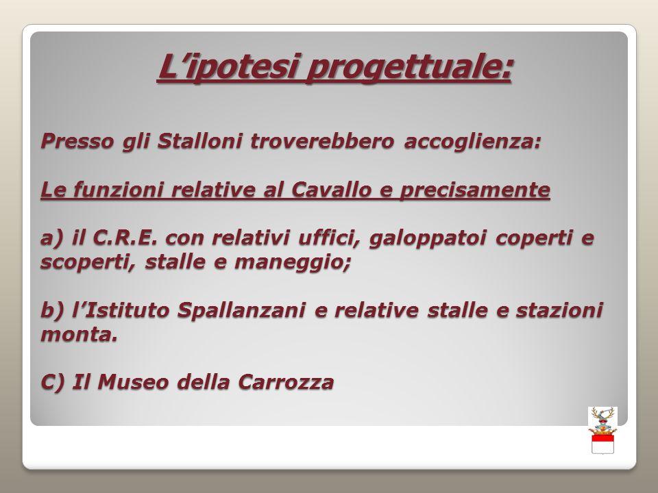 Presso gli Stalloni troverebbero accoglienza: Le funzioni relative al Cavallo e precisamente a) il C.R.E.