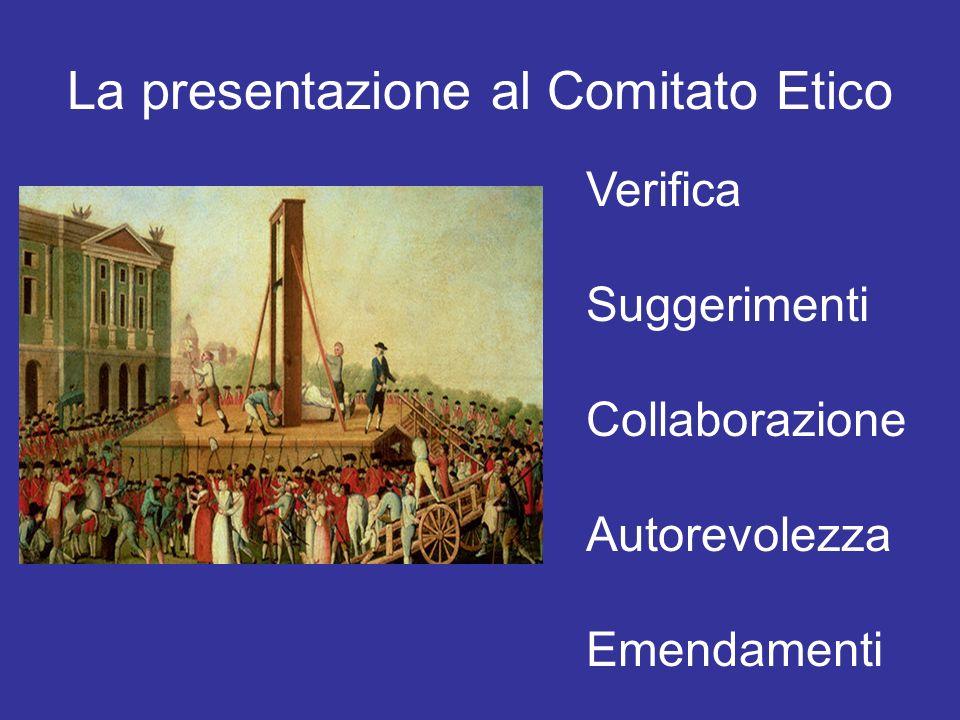 La presentazione al Comitato Etico Verifica Suggerimenti Collaborazione Autorevolezza Emendamenti
