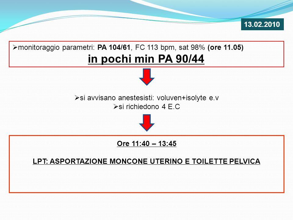 monitoraggio parametri: PA 104/61, FC 113 bpm, sat 98% (ore 11.05) in pochi min PA 90/44 si avvisano anestesisti: voluven+isolyte e.v si richiedono 4