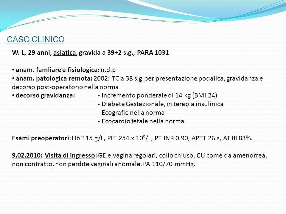 CASO CLINICO W. L, 29 anni, asiatica, gravida a 39+2 s.g., PARA 1031 anam. famliare e fisiologica: n.d.p anam. patologica remota: 2002: TC a 38 s.g pe