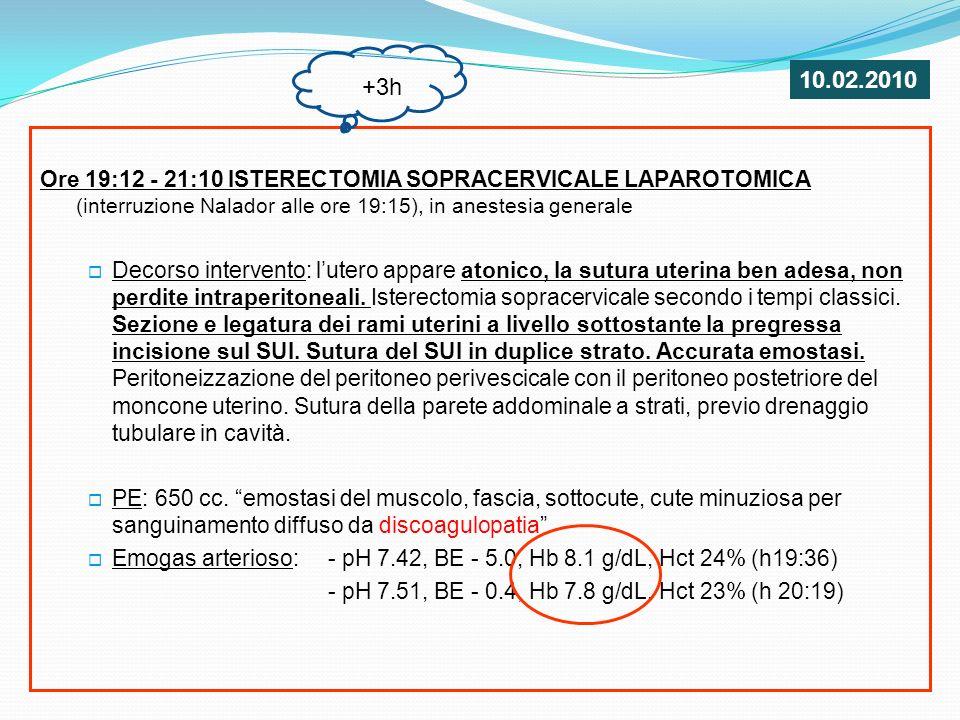 Ore 19:12 - 21:10 ISTERECTOMIA SOPRACERVICALE LAPAROTOMICA (interruzione Nalador alle ore 19:15), in anestesia generale Terapia durante intervento: Dopamina 10 mcg/Kg/min e Noradrenalina 0.1 mcg/Kg/min 11 sacche E.C, 4 PFC, 1000 UI AT III trasferimento in ISTAR: - allingresso: PA 85/60 mmHg, FC 120 bpm, Hb 7.9 - durante la notte: 4 sacche E.C, 2 PCF, progressiva normalizzazione dei parametri vitali, sospensione graduale Dopamina e sedazione +3h 10.02.2010
