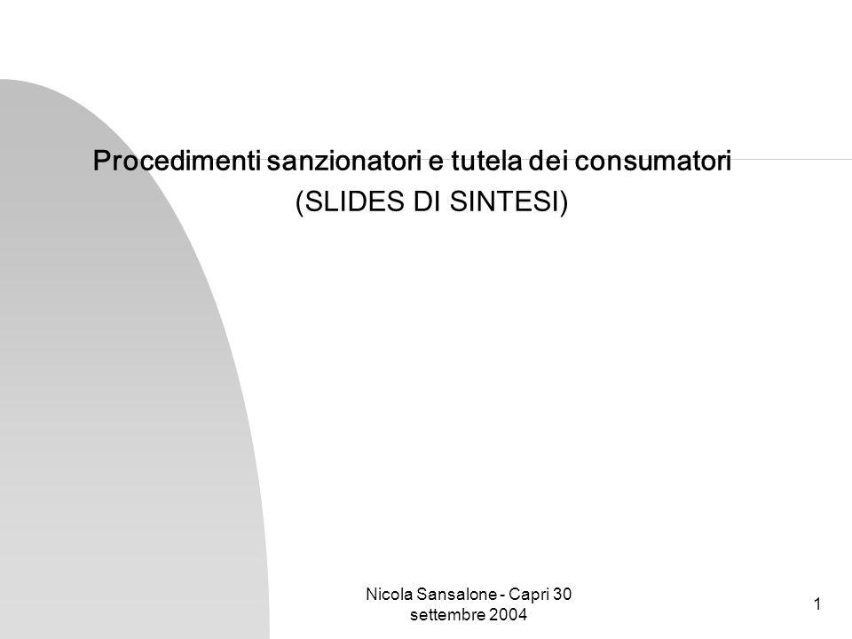 Nicola Sansalone - Capri 30 settembre 2004 1 Procedimenti sanzionatori e tutela dei consumatori (SLIDES DI SINTESI)