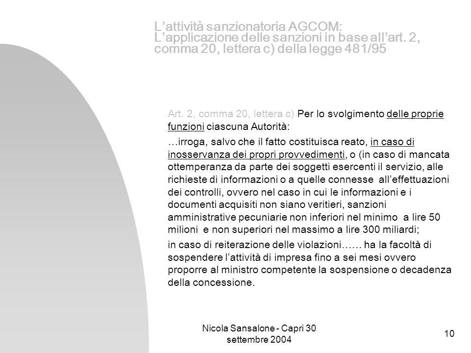 Nicola Sansalone - Capri 30 settembre 2004 10 Lattività sanzionatoria AGCOM: Lapplicazione delle sanzioni in base allart. 2, comma 20, lettera c) dell