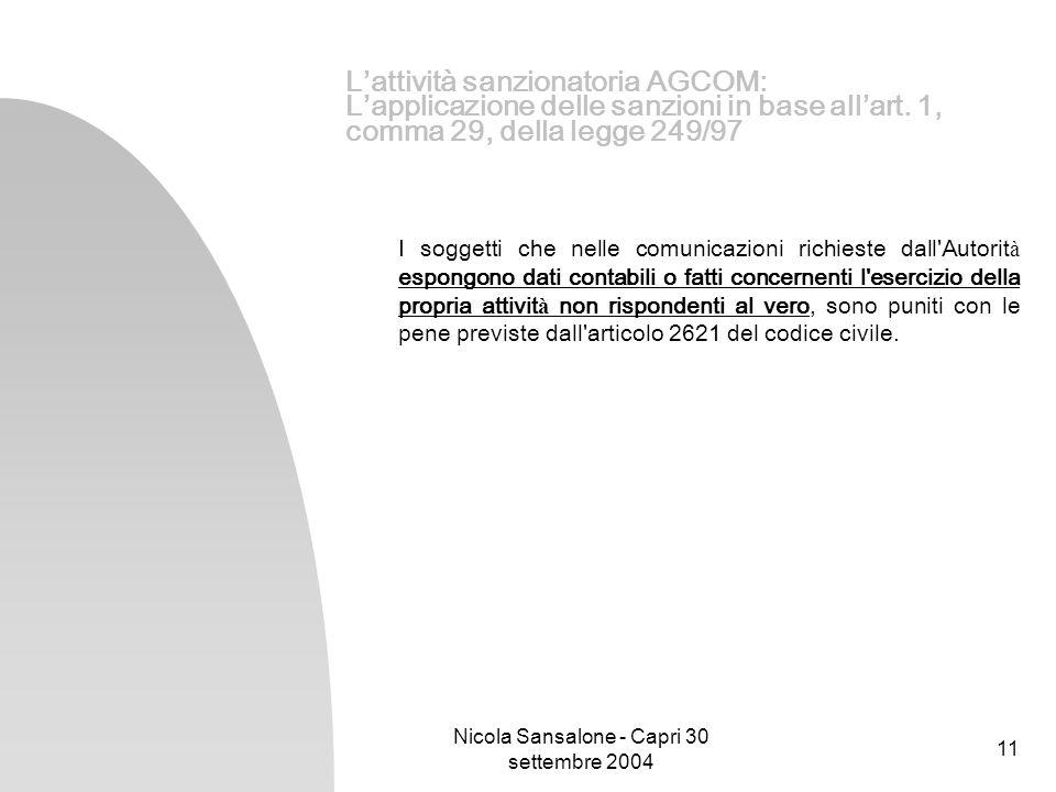 Nicola Sansalone - Capri 30 settembre 2004 11 Lattività sanzionatoria AGCOM: Lapplicazione delle sanzioni in base allart. 1, comma 29, della legge 249