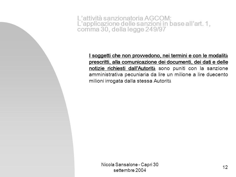 Nicola Sansalone - Capri 30 settembre 2004 12 Lattività sanzionatoria AGCOM: Lapplicazione delle sanzioni in base allart. 1, comma 30, della legge 249