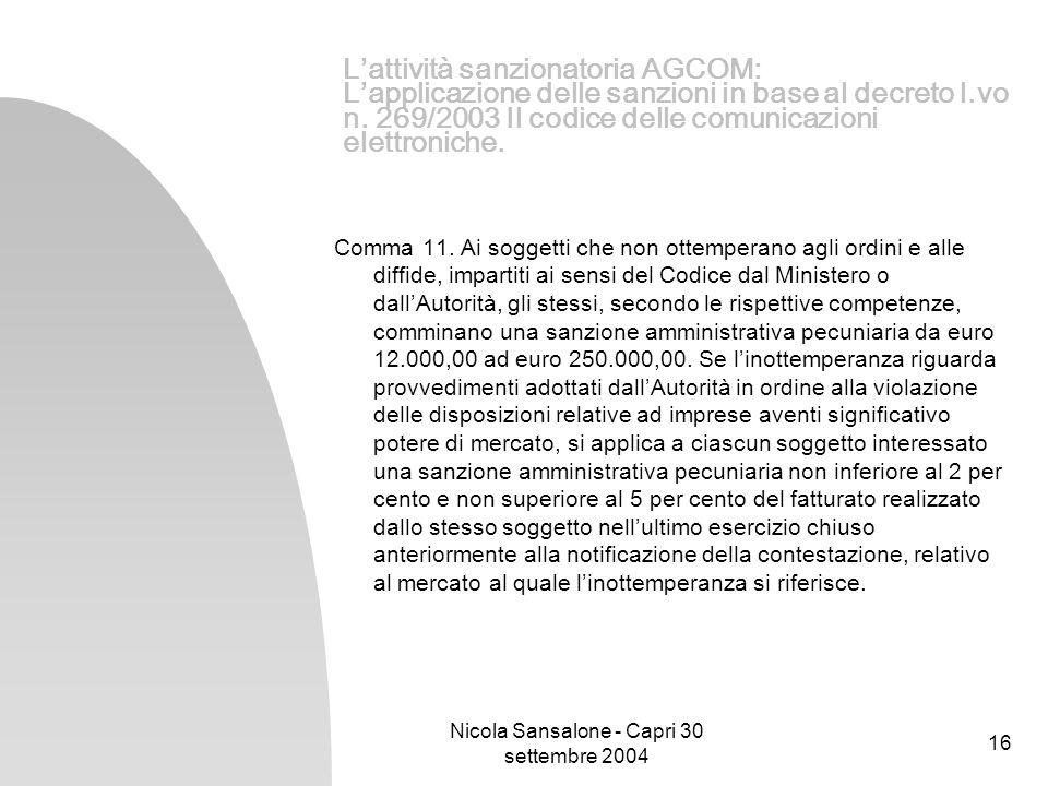 Nicola Sansalone - Capri 30 settembre 2004 16 Lattività sanzionatoria AGCOM: Lapplicazione delle sanzioni in base al decreto l.vo n. 269/2003 Il codic