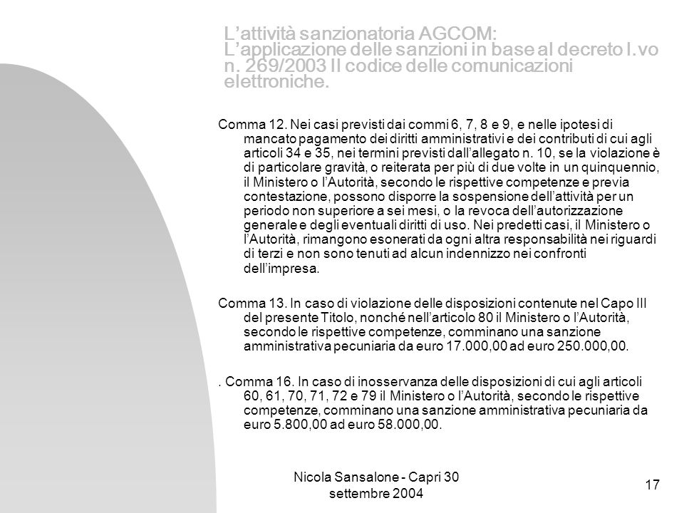 Nicola Sansalone - Capri 30 settembre 2004 17 Lattività sanzionatoria AGCOM: Lapplicazione delle sanzioni in base al decreto l.vo n. 269/2003 Il codic