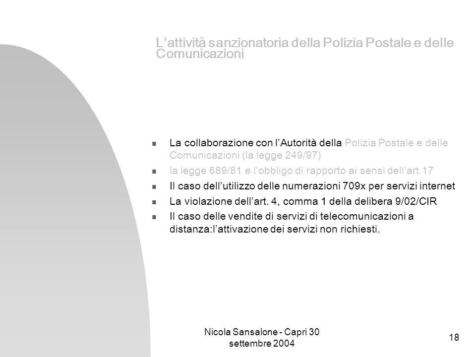 Nicola Sansalone - Capri 30 settembre 2004 18 Lattività sanzionatoria della Polizia Postale e delle Comunicazioni La collaborazione con lAutorità dell
