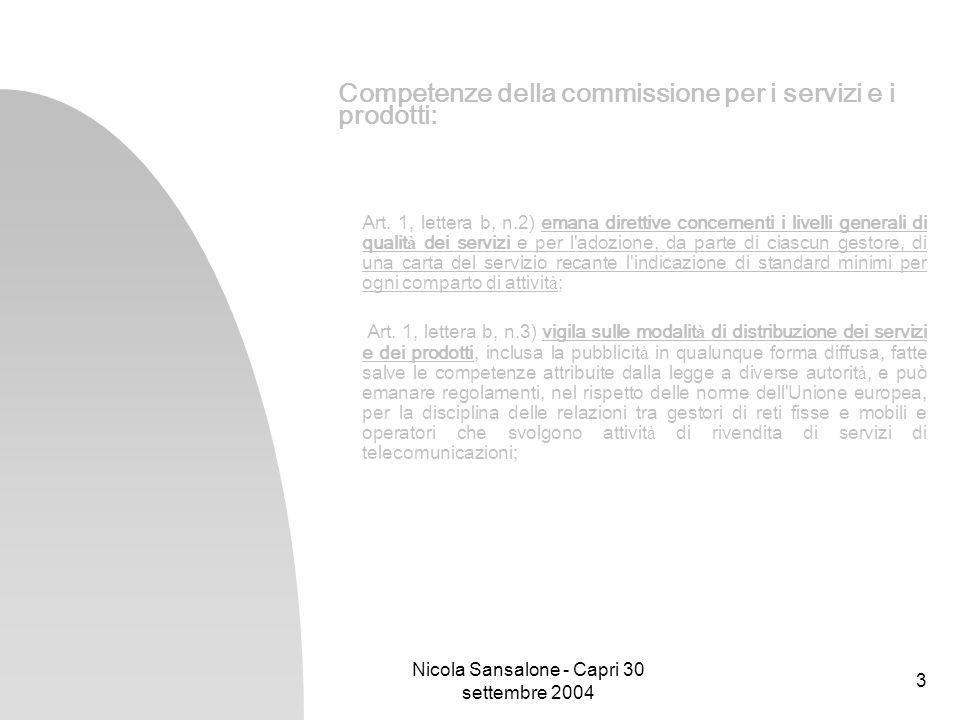 Nicola Sansalone - Capri 30 settembre 2004 3 Competenze della commissione per i servizi e i prodotti: Art. 1, lettera b, n.2) emana direttive concerne