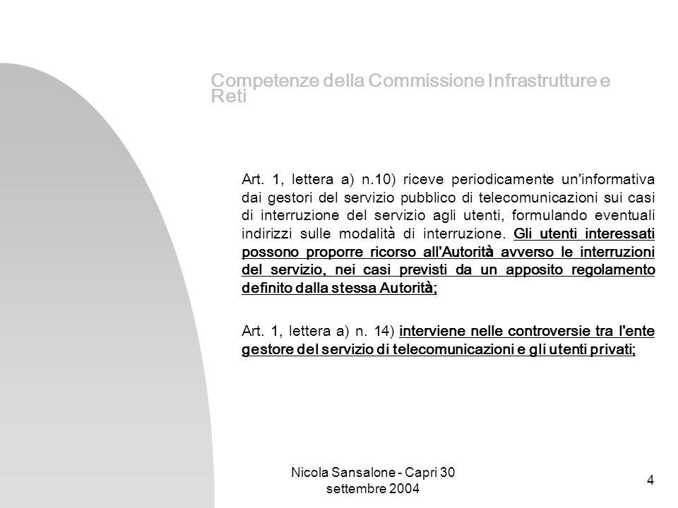 Nicola Sansalone - Capri 30 settembre 2004 4 Competenze della Commissione Infrastrutture e Reti Art. 1, lettera a) n.10) riceve periodicamente un'info