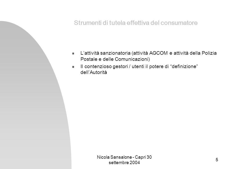 Nicola Sansalone - Capri 30 settembre 2004 5 Strumenti di tutela effettiva del consumatore Lattività sanzionatoria (attività AGCOM e attività della Po