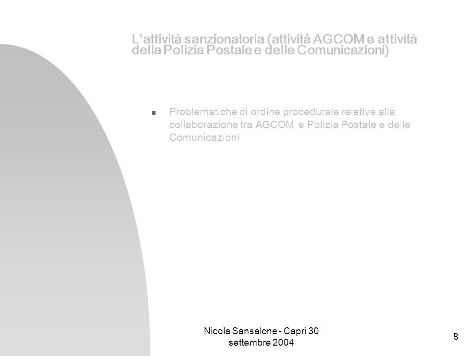 Nicola Sansalone - Capri 30 settembre 2004 8 Lattività sanzionatoria (attività AGCOM e attività della Polizia Postale e delle Comunicazioni) Problemat