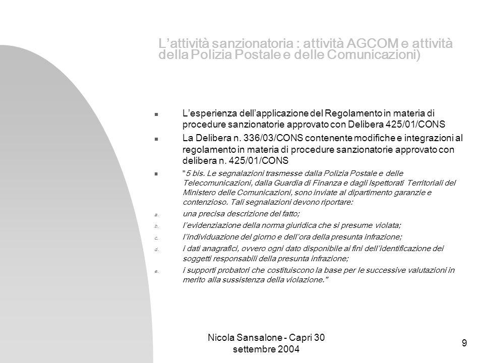 Nicola Sansalone - Capri 30 settembre 2004 10 Lattività sanzionatoria AGCOM: Lapplicazione delle sanzioni in base allart.