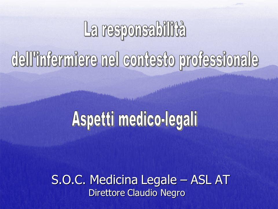 S.O.C. Medicina Legale – ASL AT Direttore Claudio Negro S.O.C. Medicina Legale – ASL AT Direttore Claudio Negro