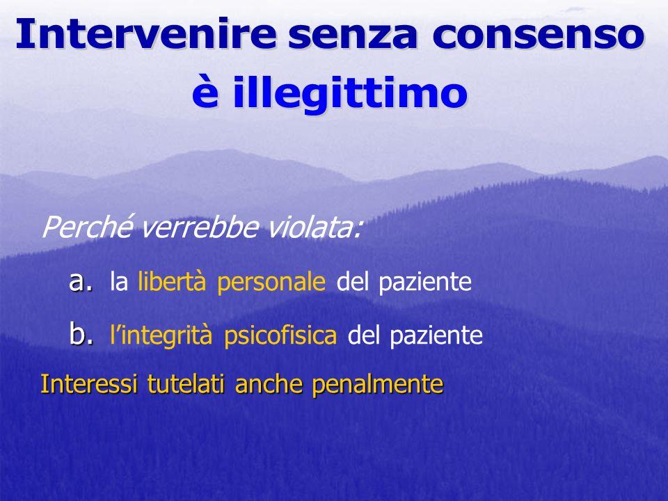 a. b. Interessi tutelati anche penalmente Perché verrebbe violata: a. la libertà personale del paziente b. lintegrità psicofisica del paziente Interes