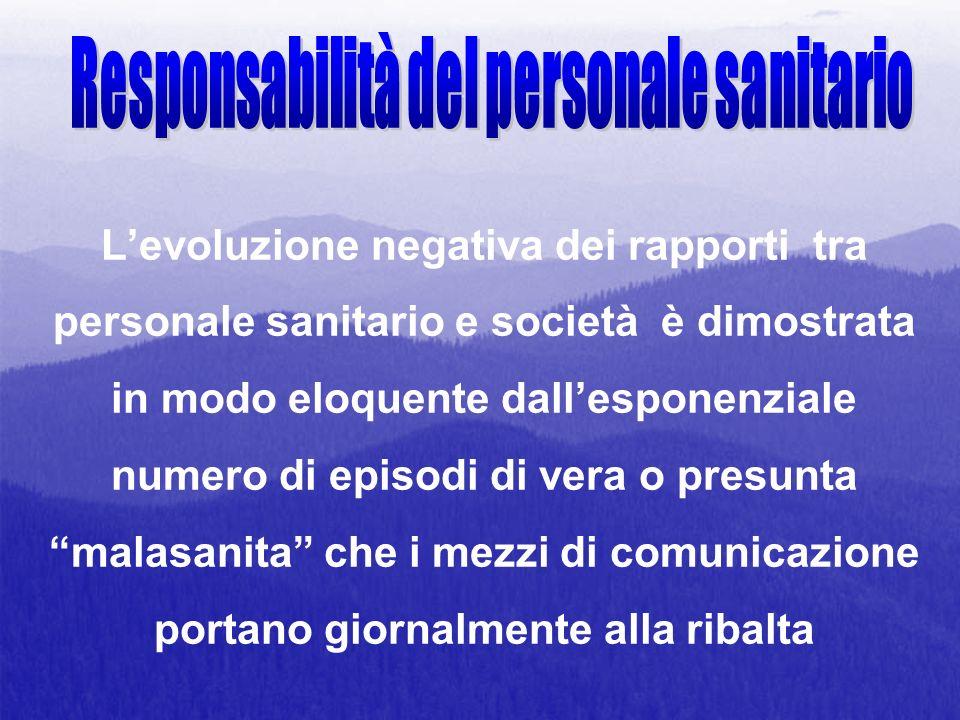 Levoluzione negativa dei rapporti tra personale sanitario e società è dimostrata in modo eloquente dallesponenziale numero di episodi di vera o presun