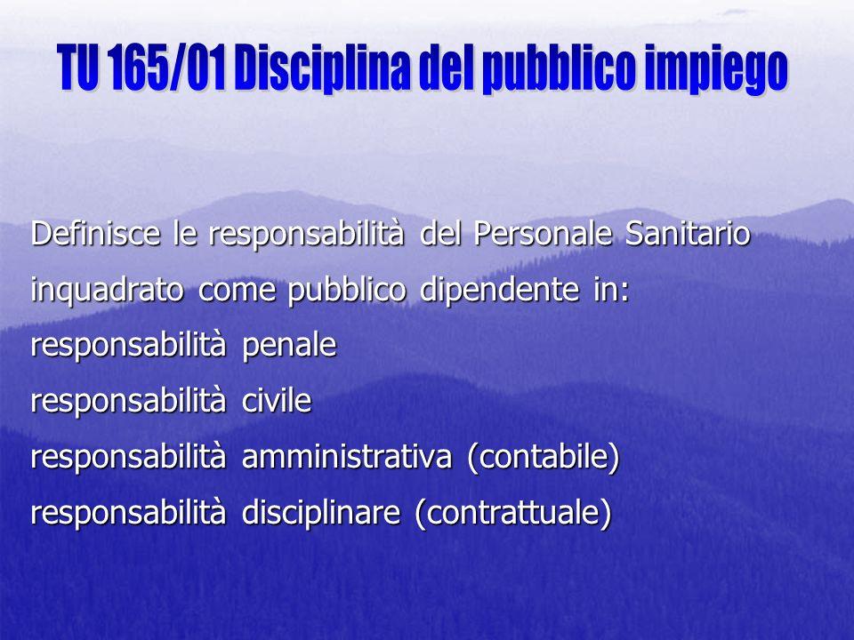 Definisce le responsabilità del Personale Sanitario inquadrato come pubblico dipendente in: responsabilità penale responsabilità civile responsabilità