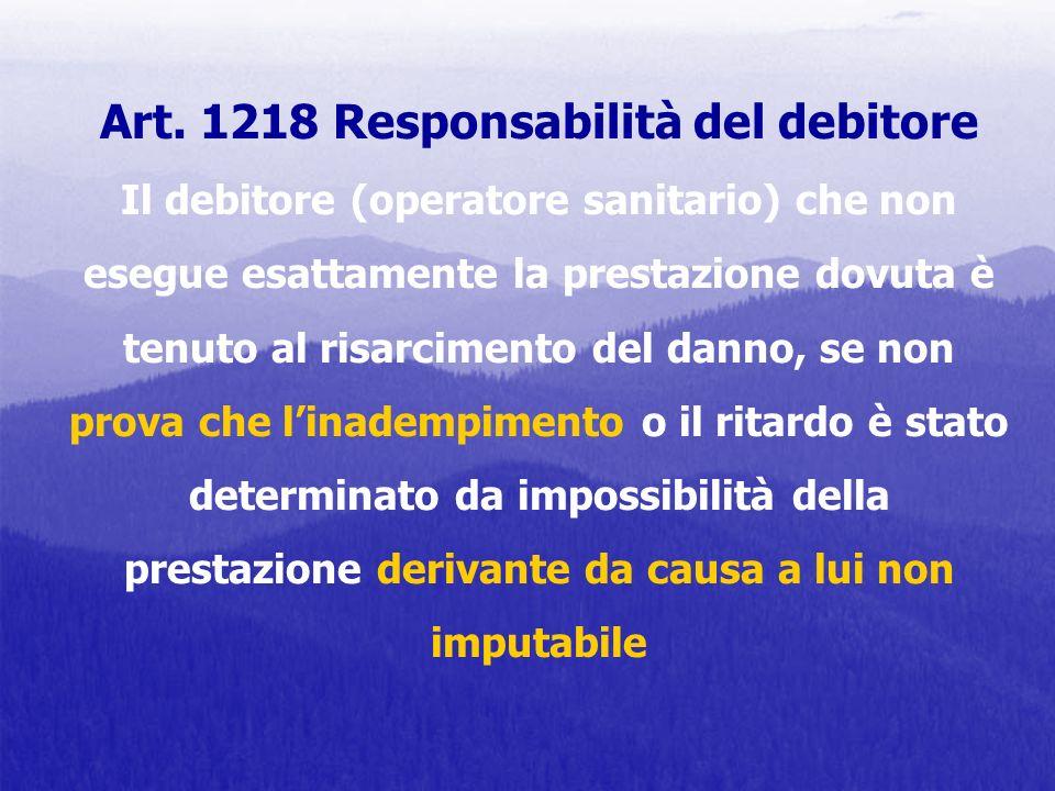 Art. 1218 Responsabilità del debitore Il debitore (operatore sanitario) che non esegue esattamente la prestazione dovuta è tenuto al risarcimento del