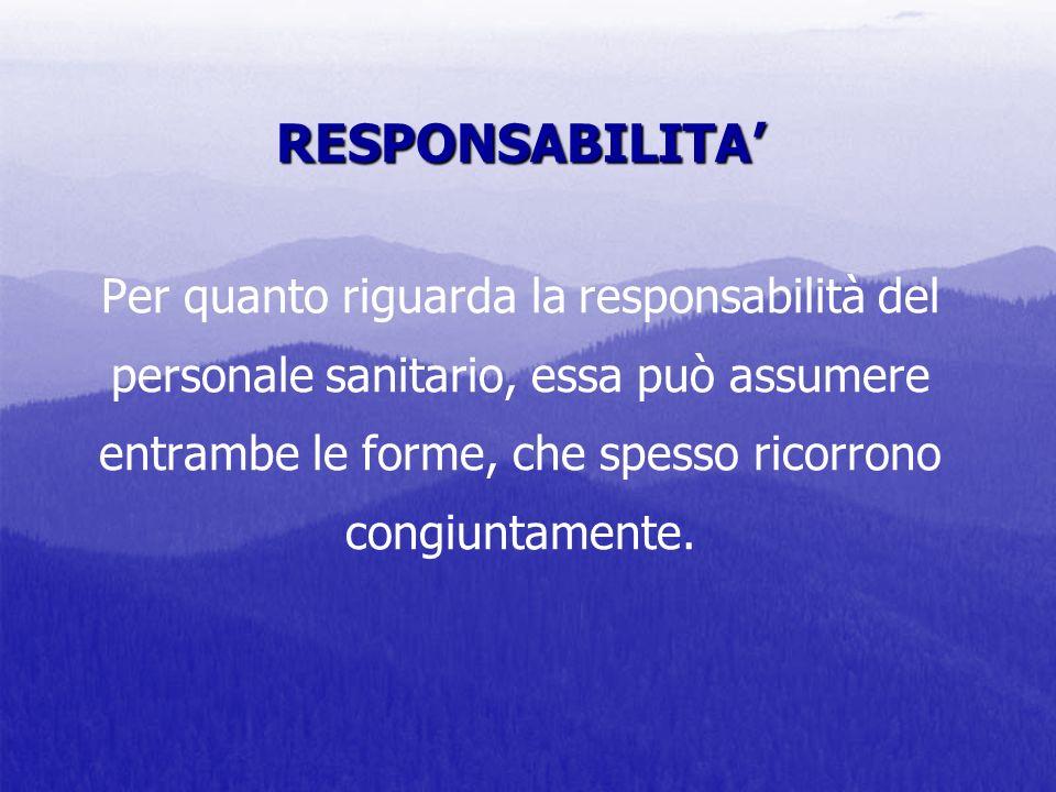 RESPONSABILITA RESPONSABILITA Per quanto riguarda la responsabilità del personale sanitario, essa può assumere entrambe le forme, che spesso ricorrono