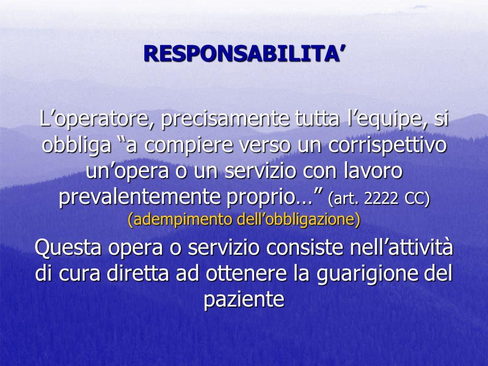 RESPONSABILITA Loperatore, precisamente tutta lequipe, si obbliga a compiere verso un corrispettivo unopera o un servizio con lavoro prevalentemente p