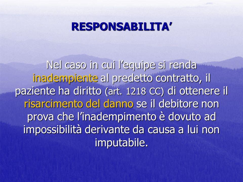 RESPONSABILITA Nel caso in cui lequipe si renda inadempiente al predetto contratto, il paziente ha diritto (art. 1218 CC) di ottenere il risarcimento