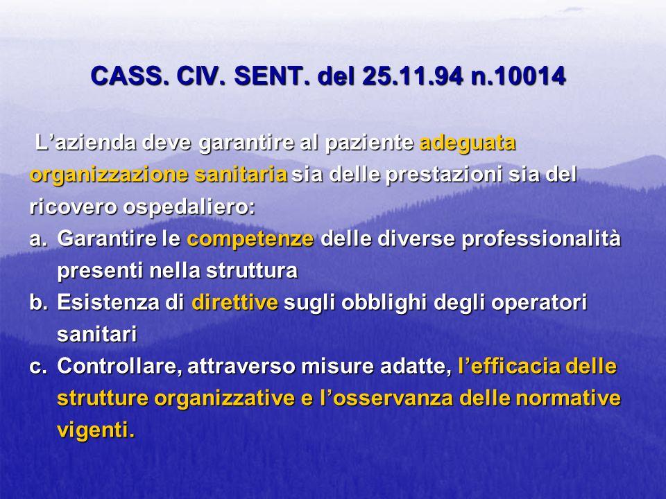CASS. CIV. SENT. del 25.11.94 n.10014 Lazienda deve garantire al paziente adeguata organizzazione sanitaria sia delle prestazioni sia del ricovero osp