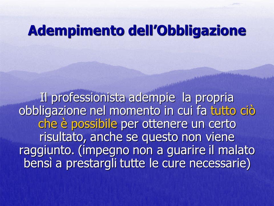 Adempimento dellObbligazione Il professionista adempie la propria obbligazione nel momento in cui fa tutto ciò che è possibile per ottenere un certo r