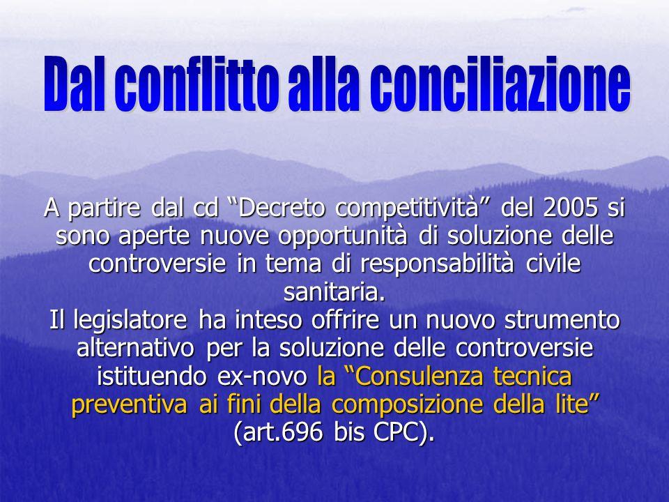 A partire dal cd Decreto competitività del 2005 si sono aperte nuove opportunità di soluzione delle controversie in tema di responsabilità civile sani